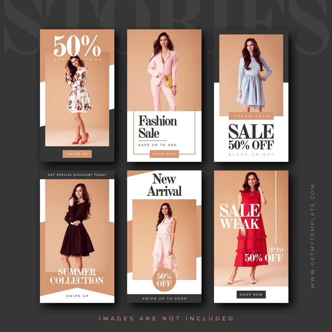 6 free fashion sale stories templates