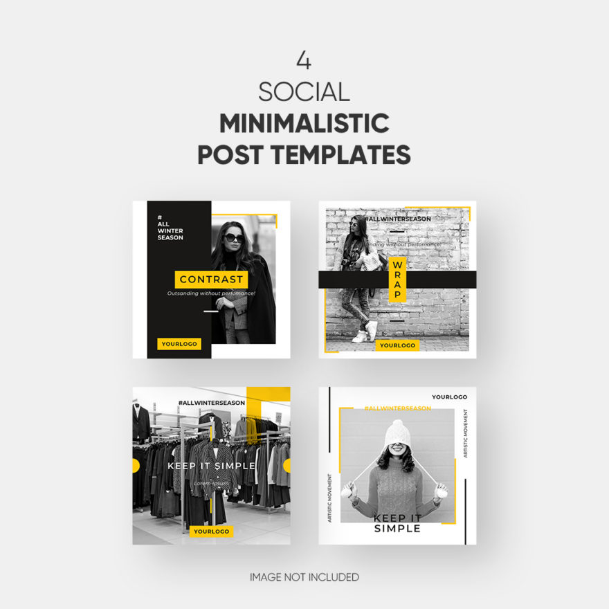 4 social minimalistic post templates