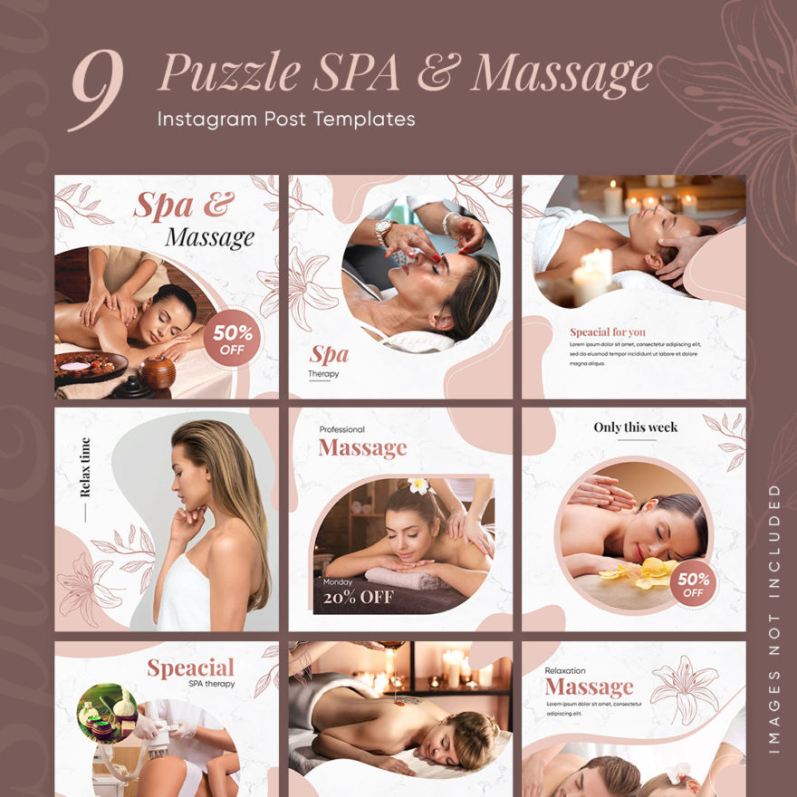 9 Puzzle SPA & Massage Instagram Post Templates