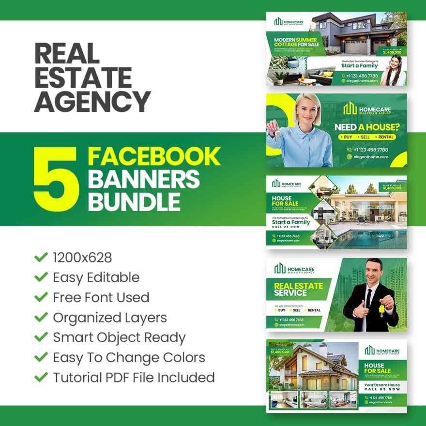 Real Estate Agency Facebook Banner Photoshop Template