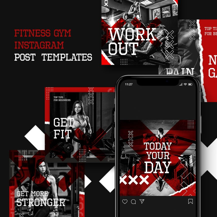 free psd sport, fitness, fashion, shop, sale, gym template, instagram, facebook, telegram, twitter, post design