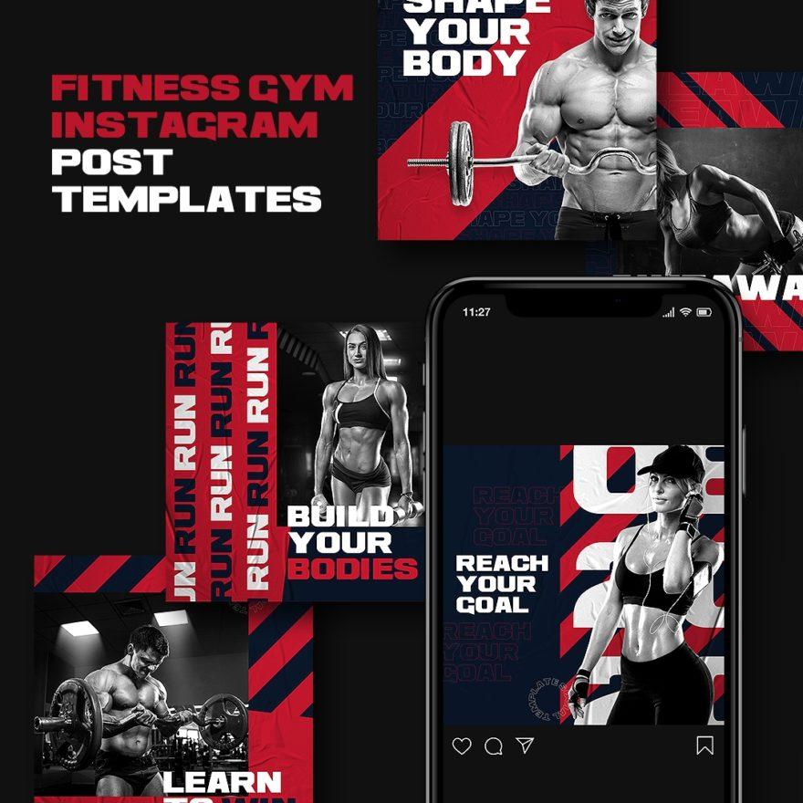 free psd sport, fitness, fashion, shop, sale, gym template, instagram, facebook, telegram, twitter, post design