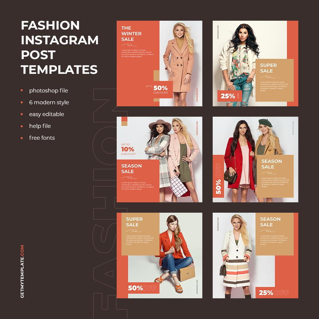 fashion store shopping free psd template, instagram, facebook, telegram, twitter, post design